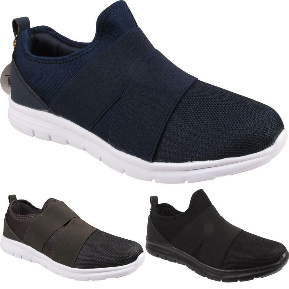 New Mens Slip On Sports Fitness Lightweight Gym Elastic Strap Trainers Shoes UK