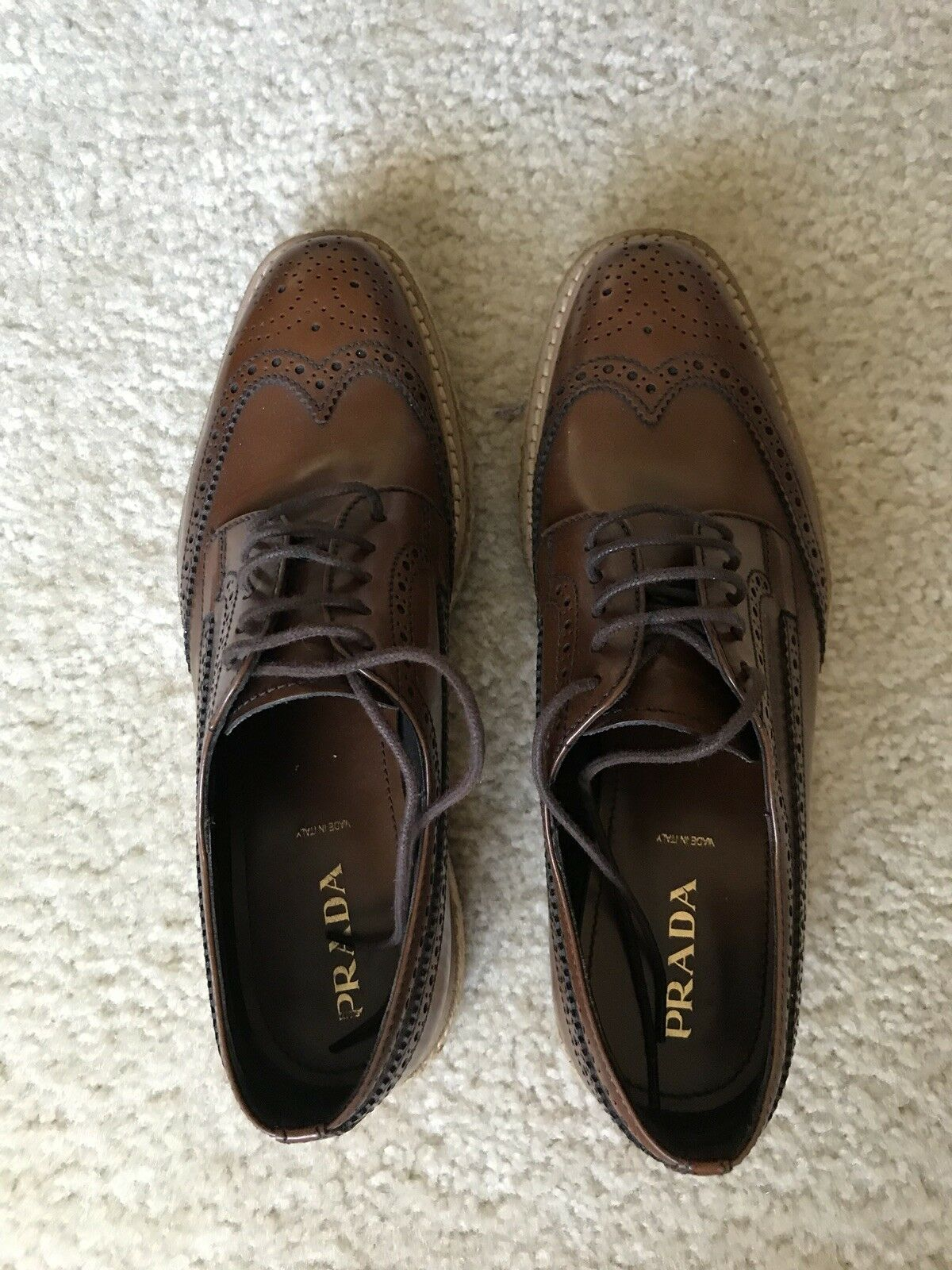 Prada zapatillas de de de plataforma punta del ala Estilo De Encaje 37.5 para Mujer 99e03e