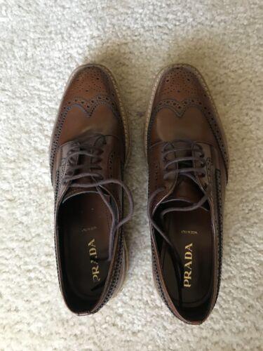 PRADA Wingtip Brogue Platform Sneaker Lace 37.5 Wo