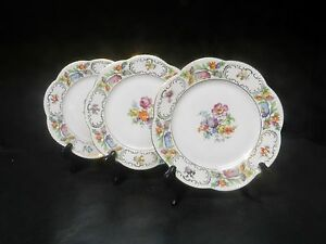 Vintage-Hand-Painted-Bavarian-Dresden-Flowers-set-of-3-Salad-Plates