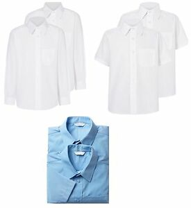 Boys School Uniform Collar Shirt blue white Long Sleeve//Short Sleeve NEW