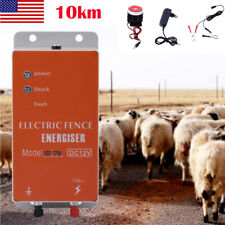 10km 12v Electric Fence Controller Energizer Charger Fr Animal Farm Poultry Tool