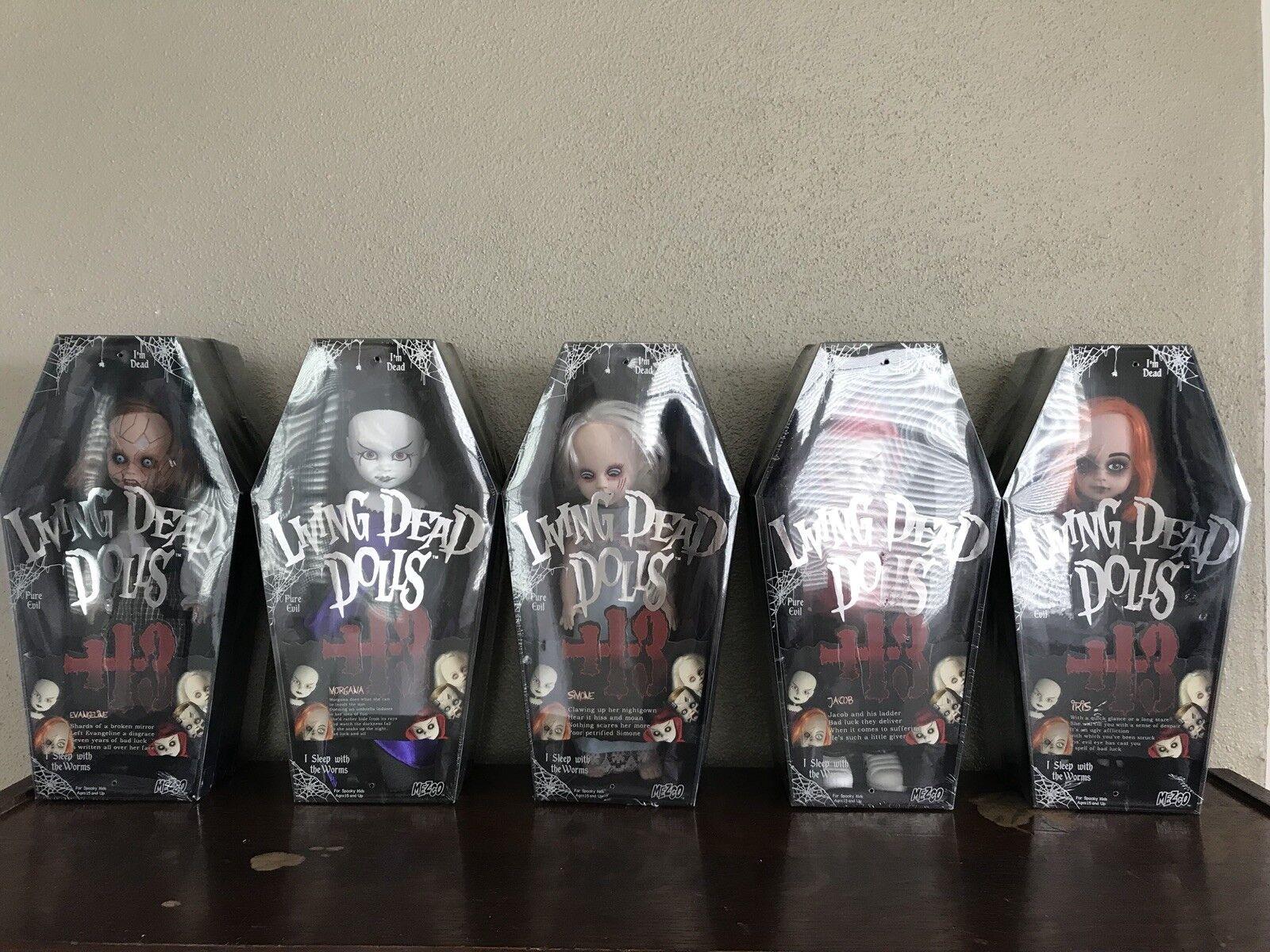 Mezco Living Dead Dolls Serie 13 juego completo. todos los 5 sellado en caso.
