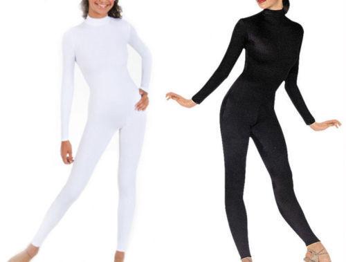 Black White Lycra Spandex Adult kid Unitard Catsuit Bodysuit Back Zip