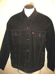 Levi-039-s-Mens-Button-up-Denim-Trucker-Jean-Jacket-Black-Gold-Stitch-071580013-NWT