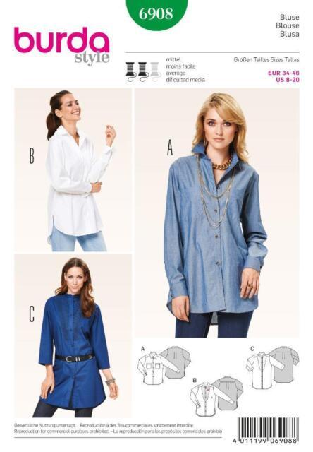 Burda Schnittmuster Bluse Hemdform 6908 | eBay