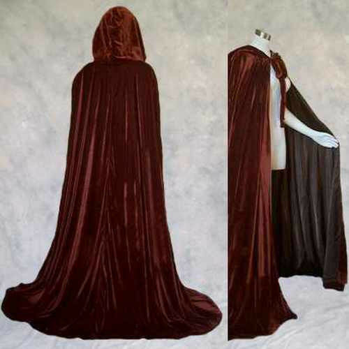 Lined Brown Velvet Cloak Cape Renaissance Wicca LOTR SCA Star Wars Cosplay LARP