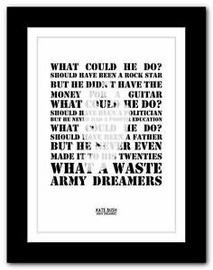 KATE-BUSH-Army-Dreamers-song-lyrics-typography-poster-art-print-A1-A2-A3-A4