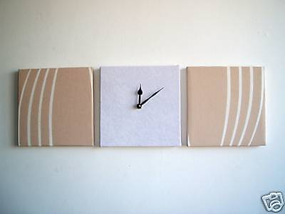 3 Arte Moderna Retrò Fatto A Mano Muro Parati Bianco & Beige Con Orologio In Finta Pelle Scamosciata- Texture Chiara