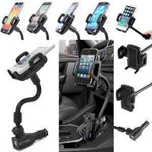 Universal-Auto-KFZ-Ladegeraet-Stecker-Halterung-Handy-Smartphone-2x-USB-NEU-Lj