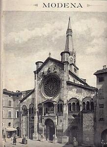 MODENA-XILOGRAFIA-IL-DUOMO-E-TORRE-GHIRLANDINA-LE-CENTO-CITTA-039-D-039-ITALIA-1889