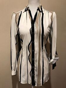 830998bb5f339 NEW Women s Alfani Striped Button Down Dress Shirt Blouse Career Top ...
