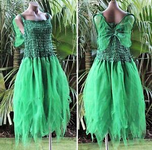 PLUS SIZE Fairy Dress Party Costume with Wings FOREST GREEN /& NEON