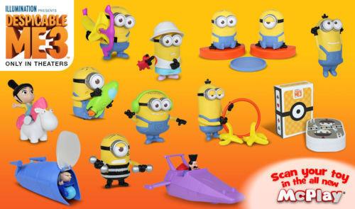 2017 McDonalds Minions Despicable Me 3 Toyscomplete Set Of 12
