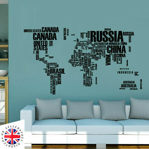 World map wall sticker art decal vinyl decor home bedroom office la imagen se est cargando mapa del mundo pegatinas de pared arte calcomania gumiabroncs