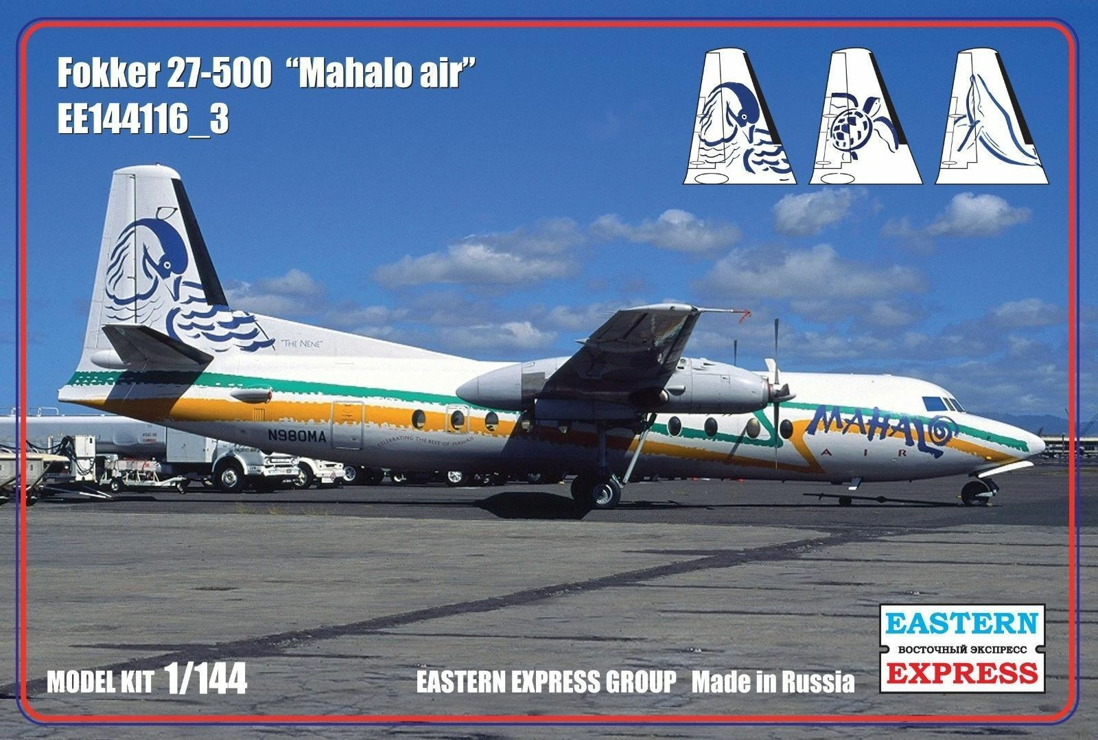 EASTERN EXPRESS 144116-3 FOKKER 27-500 MAHALO AIRLINES SCALE MODEL KIT 1 144 NEW