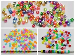 1000 Mixed Color Acrylic Tiny Barrel Pony Beads 4mm-6mm for Kandi Bracelets