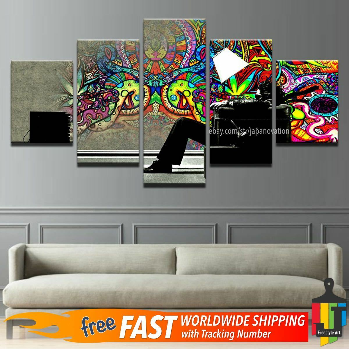 5 Pieces Home Decor Canvas Print Wall Art Psychedelic Abstract Graffiti Painting