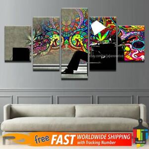 Details About 5 Pieces Home Decor Canvas Print Wall Art Psychedelic Abstract Graffiti Painting