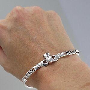 Claddagh Heart Bangle Bracelet - 925 Sterling Silver - Irish Love Loyalty Friend