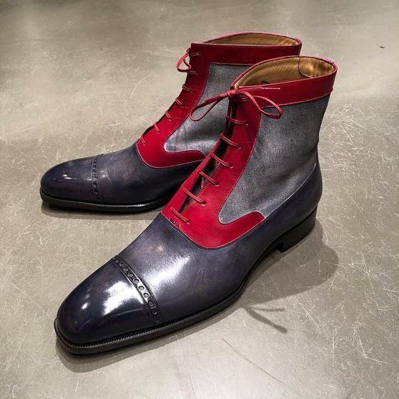 Men Latest Model Versatile Panels Real Leather & Fabric Boots, bottes men