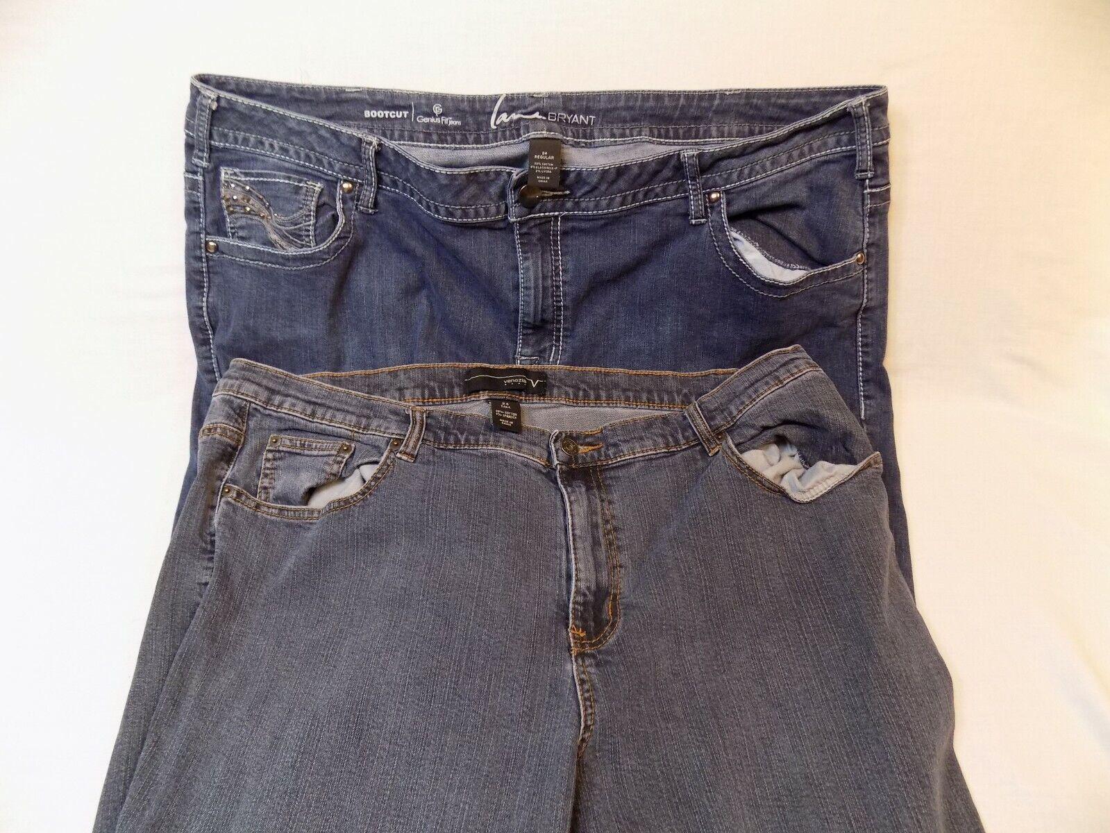 24 TALL Womens bluee Jeans Pants LOT Pair Lane Bryant Bootcut Genius Fit Venezia