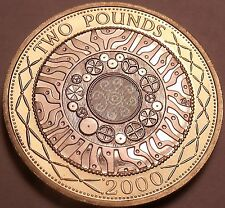 Cameo Proof Great Britain 2000 Bi-Metal 2 Pounds~Technology~Only 100k Minted~F/S