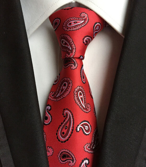New Classic Paisley White Red JACQUARD WOVEN Silk Men's Tie Necktie