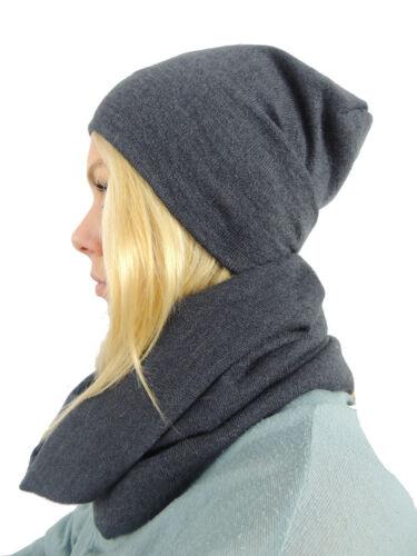m005 Bonnet-écharpe 2er-set Femmes Hiver Casquette unisexe avec écharpe Tube