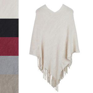 Premium-Solid-Color-Soft-Knit-Pullover-Winter-Fringe-Poncho-Shawl-Wrap-Cape