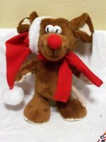Plush Standing Mouse In Red Santa Hat And Scarf Holiday Christmas Decoration