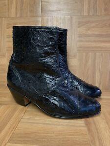 Vintage-Moda-Scapa-Moda-Italia-Ostrich-Ankle-Boots-Sz-7-8-Men-039-s-Leather-Botini