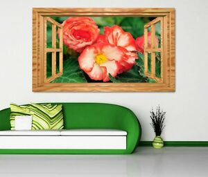 3D-adesivo-murale-FIORE-ROSSO-BEGONIA-fogli-da-parete-11k936