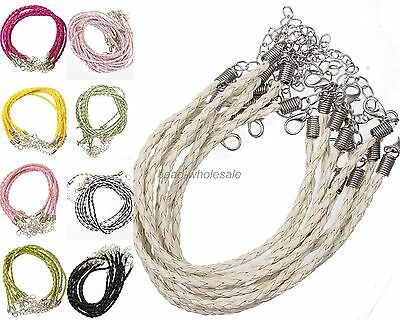 10Pcs Real Leather Adjustable Braided Necklace String Cord Chain Findings 3 mm