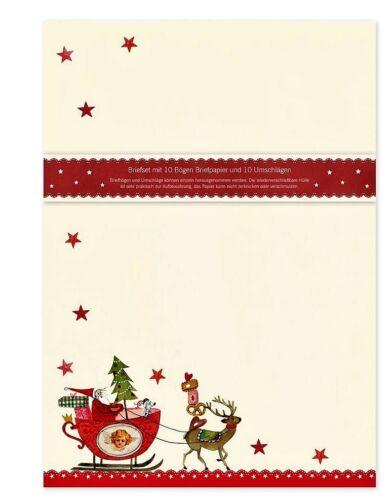 SILKE LEFFLER*Briefpapier-set*10Blatt//10Umschl.*Weihnachten*Schlitten*