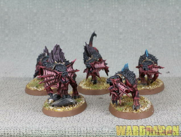 60mm Warhammer Age Of Sigmar WDS painred Daemons Of Khorne Flesh Hounds g89