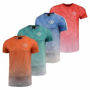 Mens-Crosshatch-T-Shirt-Contrast-Short-Sleeve-Tee-Top-Salifornia