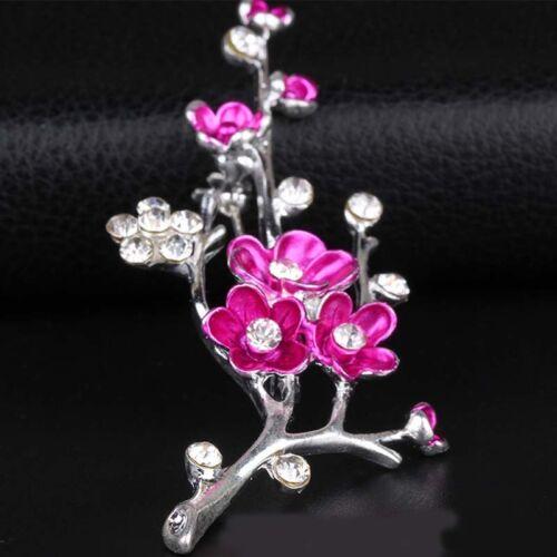Women Grace Plum Blossom Crystal Brooches Lapel Pin Breastpin Wedding Jewellery