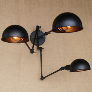 Details About 3 Heads Black Wall Lamps Long Swing Arm Lights Lighting Fixtures Ceiling Sconce