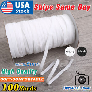 US 100 Yards 1/4 Inch 6mm BLACK WHITE Elastic Band Trim for DIY Face Masks