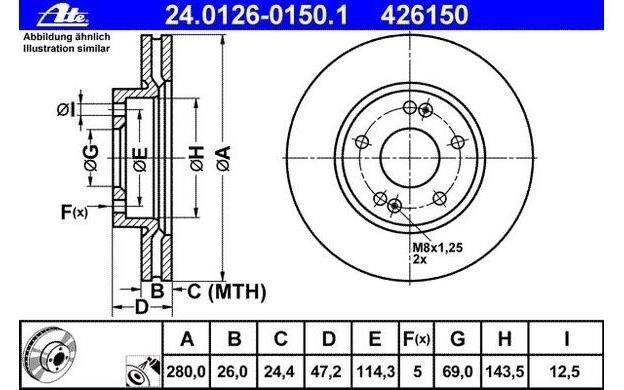 ATE Juego de 2 discos freno Antes 280mm ventilado para BMW Serie 1 KIA