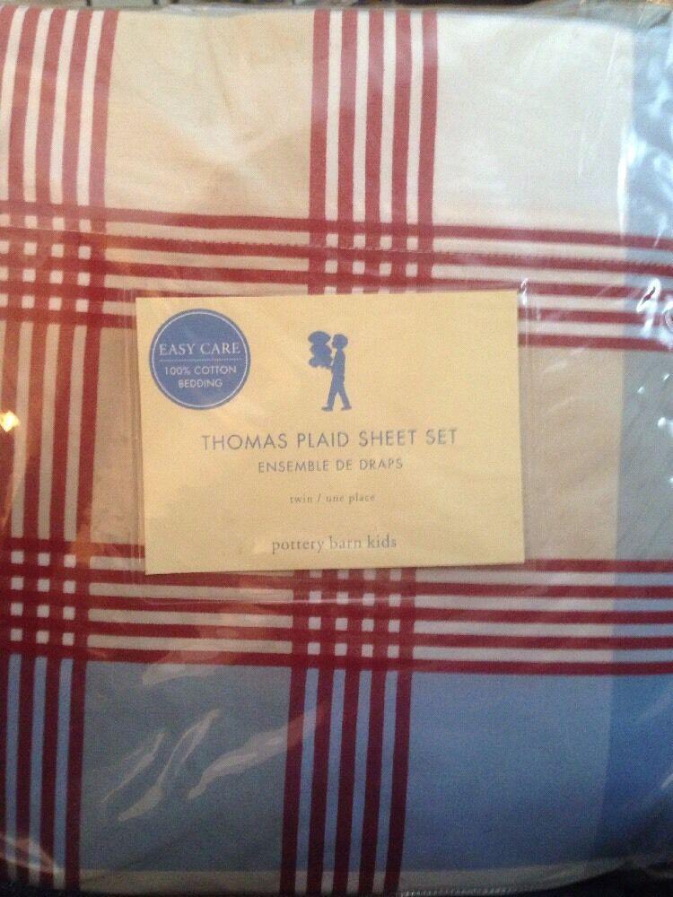 POTTERY BARN Kids Thomas Plaid Twin Sheet Set Nouveau Rouge Bleu Kaki 3pc