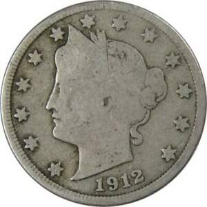 1912 D Liberty Head V Nickel 5 Cent Piece AG About Good 5c US Coin Collectible