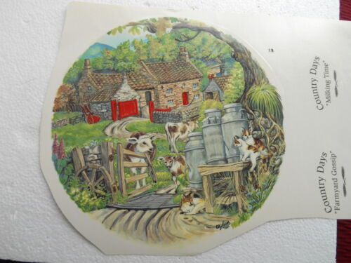 "1990s 8"" SIGNED WATER TRANSFER ENTITLED COUNTRY DAYS MILKING TIME SIGNED"