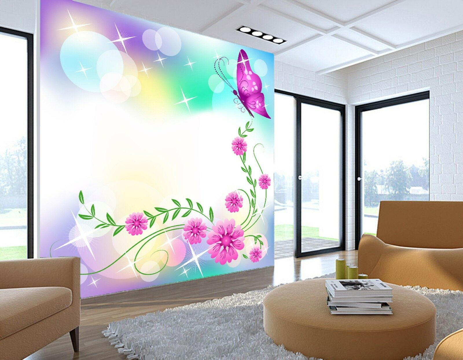 3D butterfly Circle Wall Paper Print Decal Wall Deco Indoor wall Mural