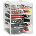 Beautify Large 6 Tier Clear Acrylic Cosmetic Makeup Organiser Storage Case 5 Drawers