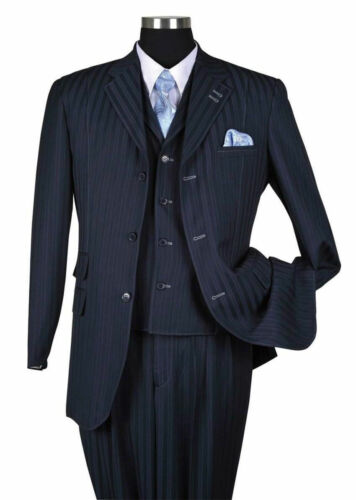 New Men/'s 3 piece Wool Feel Elegant and Classic Stripes Suit Navy 5267V