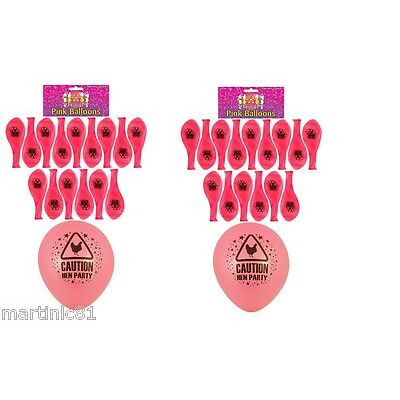 30 X PINK HEN PARTY BALLOONS CAUTION HENS NIGHT OUT BALLOON PINK ACCESSORY FANCY