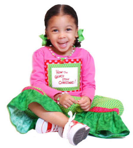 BonEful BTS Boutique RTS 3 4 GIRL Pink Green Ruffle Xmas Capri Gaucho Dress Pant