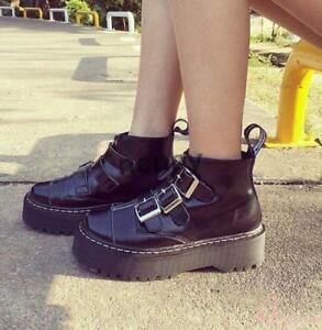 Women-039-s-High-Top-Creepers-Platform-Flat-Patent-Leather-Oxfords-Buckle-Zip-Shoes